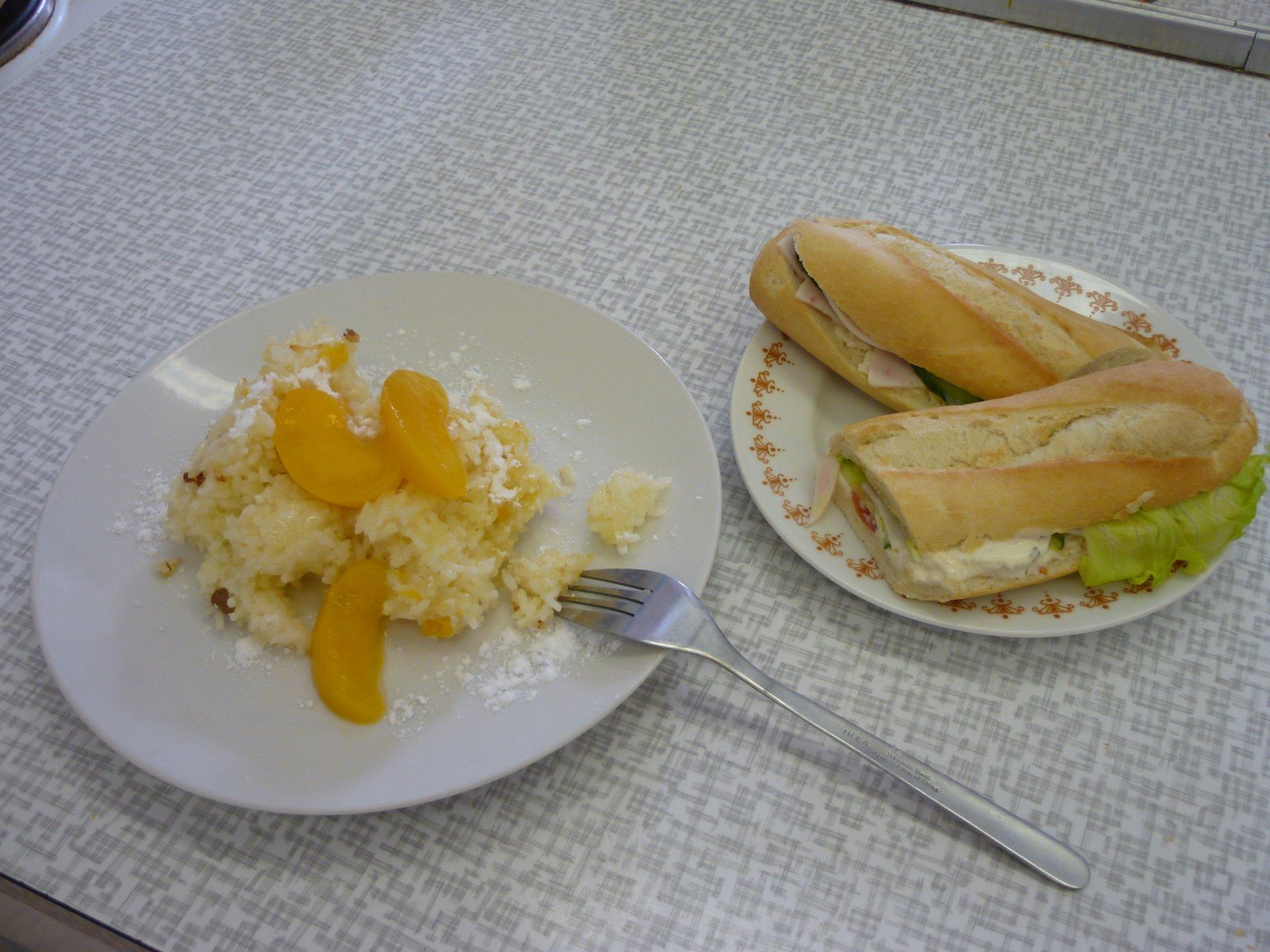 sladká rýže a bageta